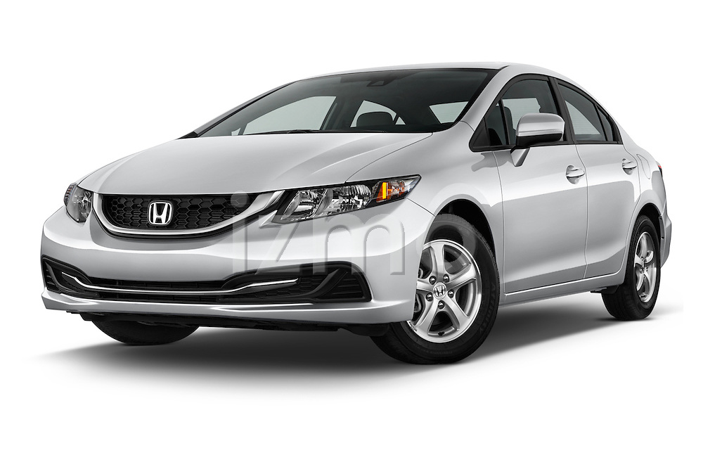 Stock pictures of low aggressive front three quarter view of a 2015 Honda Civic CNG 4 Door Sedan