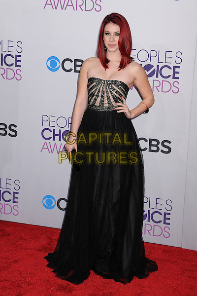 Jillian Rose Reed.People's Choice Awards 2013 - Arrivals held at Nokia Theatre L.A. Live, Los Angeles, California, USA..January 9th, 2013.full length dress black strapless stripe hand on hip.CAP/ADM/BP.©Byron Purvis/AdMedia/Capital Pictures.