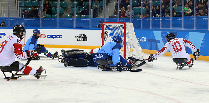 Pyeongchang, Korea, 11/3/2018-Canada plays Italy in hockey during the 2018 Paralympic Games in PyeongChang. Photo Scott Grant/Canadian Paralympic Committee.