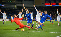 Joe Bennett of Cardiff City finishes past Allan McGregor of Hull City but the goal is disallowed after a successful appeal during the Sky Bet Championship match between Cardiff City and Hull City at the Cardiff City Stadium, Cardiff, Wales on 16 December 2017. Photo by Mark  Hawkins / PRiME Media Images.