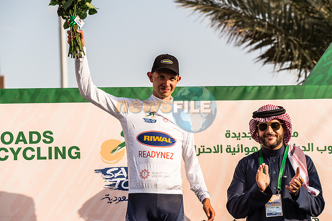 Andreas lorentz Kron (DEN) Riwal Readynez Cycling Team retains the White Jersey at the end of Stage 3 of the Saudi Tour 2020 running 119km from King Saud University to Al Bujairi, Saudi Arabia. 6th February 2020. <br /> Picture: ASO/Kåre Dehlie Thorstad | Cyclefile<br /> All photos usage must carry mandatory copyright credit (© Cyclefile | ASO/Kåre Dehlie Thorstad)