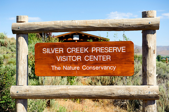 Visitor Center sign at the Nature Conservancy Silver Creek Preserve in Idaho