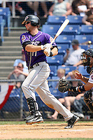July 7th 2008:  Third baseman Wes Hodges of the Akron Aeros, Class-AA affiliate of the Cleveland Indians, during a game at NYSEG Stadium in Binghamton, NY.  Photo by:  Mike Janes/Four Seam Images