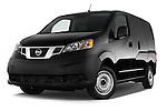 Stock pictures of low aggressive front three quarter view of a 2014 Nissan NV 200 Cargo S 5 Door Van Low Aggressive