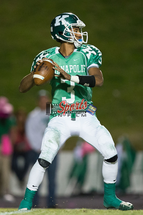 Damon Johnson (3) of the A.L. Brown Wonders drops back to pass during first half action against the Hough Huskies at A.L. Brown High School on October 16, 2015 in Kannapolis, North Carolina.  The Huskies defeated the Wonders 21-7.  (Brian Westerholt/Sports On Film)