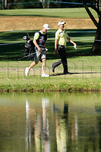 27.02.2016. Perth, Australia. ISPS HANDA Perth International Golf. Anthony Summers (AUS) walks to the 8th green during day three.