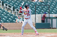 Surprise Saguaros designated hitter Lane Thomas (23), of the St. Louis Cardinals organization, at bat during an Arizona Fall League game against the Salt River Rafters at Salt River Fields at Talking Stick on October 23, 2018 in Scottsdale, Arizona. Salt River defeated Surprise 7-5 . (Zachary Lucy/Four Seam Images)
