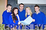 EXAM: Finished the maths paper of therir leaving cert at Presentation Secondary School, on Wednesday L-r: Jason Roche (Beaufort), Sabrina Sheahan (Glenbeigh), Brian O'Sullivan and Tara Coffey (Killarney) and Adam Grey (Ballyfinnane). ....