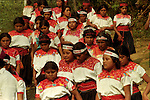 Native Indians stage a rally to support the Zapatista National Liberation Army (EZLN) leaders in Larrainzar in southern state of Chiapas, April 19, 1995. Mexican government peace commision and the Zapatista rebels will hold peace talks after the upsrising that started in January 1st, 1994. Photo by Heriberto Rodriguez