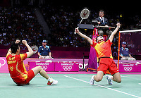 04.08.2012. London, England.  Cai Yun Fu Haifeng of China Celebrate during mens Doubles Semi-finals of Badminton Against Koo Kien Keat Tan Boon Heong of Malaysia  London 2012 Olympic Games  The Chinese Players Won The Match 2 0