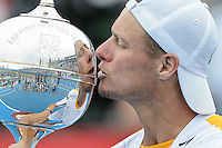 MELBOURNE, AUSTRALIA - JANUARY 12: LLEYTON HEWITT (AUS) celebrates winning the 2013 AAMI Classic event against JUAN MARTIN DEL POTRO (ARG) 6-1 6-4 at the Kooyong Lawn Tennis Club in Melbourne, Australia. (Photo Sydney Low)