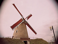 An old brick windmill in France