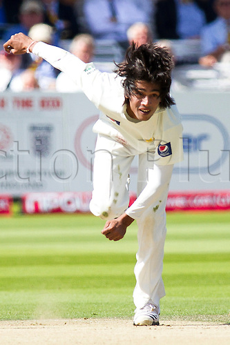 28.08.2010 The fourth and final Test Match at Lord's between England v Pakistan.  Mohammad Amir of Pakistan in action during the international test match between England and Pakistan at Lord's cricket ground, on August 28, 2010 in London, England.
