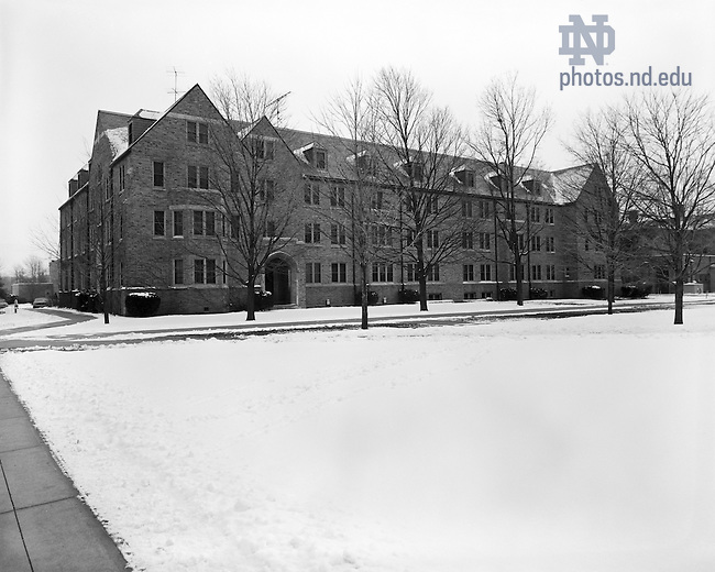 GPHR 45/0007:  Breen-Phillips Hall exterior in winter with snow, 1970/1230..Image from the University of Notre Dame Archives.