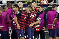 Santa Clara, CA - Wednesday July 26, 2017: Jordan Morris and Michael Bradley celebrate a Jordan Morris goal during the 2017 Gold Cup Final Championship match between the men's national teams of the United States (USA) and Jamaica (JAM) at Levi's Stadium.