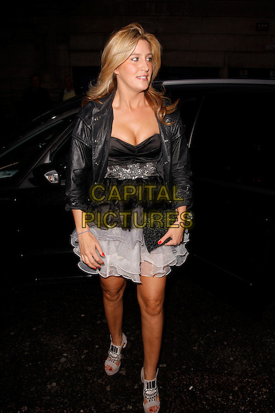 Francesca &quot;Cheska&quot; Hull<br /> Lipsy VIP Fashion Awards 2013, DSTRKT, London, England.<br /> 29th May, 2013<br /> full length dress black white clutch bag leather jacket top skirt <br /> CAP/AH<br /> &copy;Adam Houghton/Capital Pictures