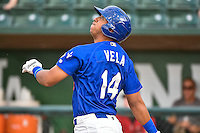 Ivan Vela (14) of the Ogden Raptors at bat against the Great Falls Voyagers in Pioneer League action at Lindquist Field on July 16, 2015 in Ogden, Utah. Ogden defeated Great Falls 5-2. (Stephen Smith/Four Seam Images)