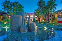 The Gardens, El Paseo Drive, Palm Desert, CA, Public Art Sculpture, Twilight, Beautiful, Boutiques; famous; retailers; fashion; haute couture; shopping; Mannequins; near Palm Springs; Palm Trees; California; Coachella Valley; Desert;