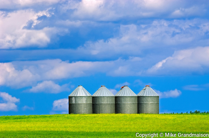 grain bins and sky<br /> Altamont<br /> Manitoba<br /> Canada