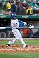 South Bend Cubs Rafael Narea (2) at bat during a Midwest League game against the Cedar Rapids Kernels at Four Winds Field on May 8, 2019 in South Bend, Indiana. South Bend defeated Cedar Rapids 2-1. (Zachary Lucy/Four Seam Images)
