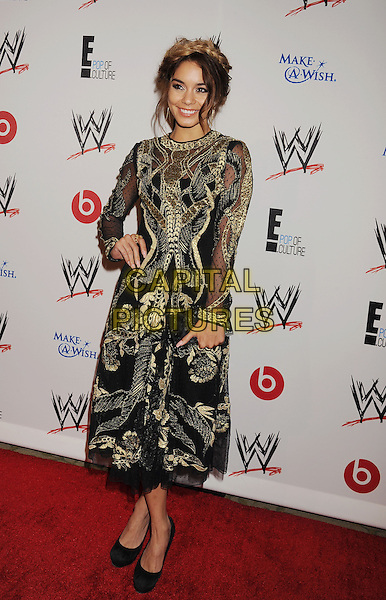 Vanessa Hudgens<br /> WWE &amp; E! Entertainment's &quot;SuperStars For Hope&quot; supporting Make-A-Wish at The Beverly Hills Hotel in Beverly Hills, CA., USA.<br /> August 15th, 2013<br /> full length gold black embroidered hair up braid plait dyed blonde hand on hip dress clutch bag<br /> CAP/ROT/TM<br /> &copy;Tony Michaels/Roth Stock/Capital Pictures