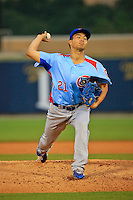 Tennessee Smokies pitcher Jen-Ho Tseng (21) in action against Biloxi Shuckers at MGM Park on May 2, 2016 in Biloxi, Mississippi. (Derick E. Hingle/Four Seams Images)