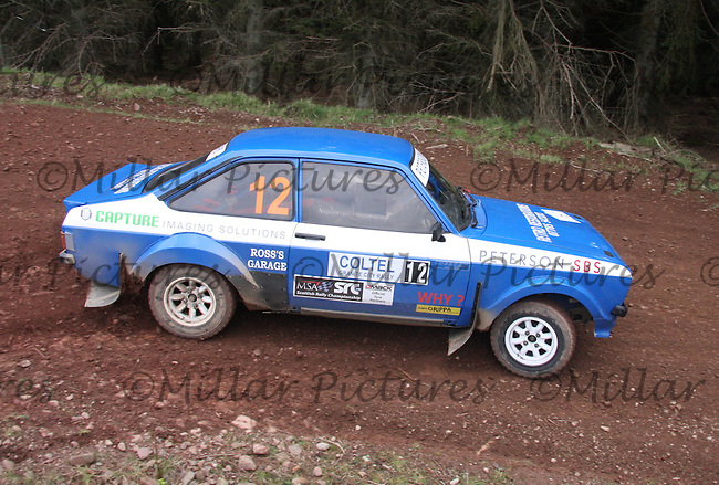 Calum MacKenzie / Alan Clark in a MkII Ford Escort at Junction 8 on Whytes Cranes Special Stage 3 Drumtochty of the Coltel Granite City Rally 2012 which was based at the Thainstone Agricultural Centre, Inverurie.