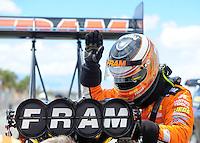 Apr. 1, 2012; Las Vegas, NV, USA: NHRA top fuel dragster driver Spencer Massey during the Summitracing.com Nationals at The Strip in Las Vegas. Mandatory Credit: Mark J. Rebilas-