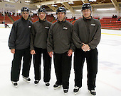 Pete Torgerson, second from left, will be retiring as an ECAC referee soon and this is his final game with this particular crew made up of Jean-Yves Roy, Dean Gilbert and Brett Reed. - The St. Lawrence University Saints defeated the Harvard University Crimson 3-2 on Friday, November 20, 2009, at the Bright Hockey Center in Cambridge, Massachusetts.