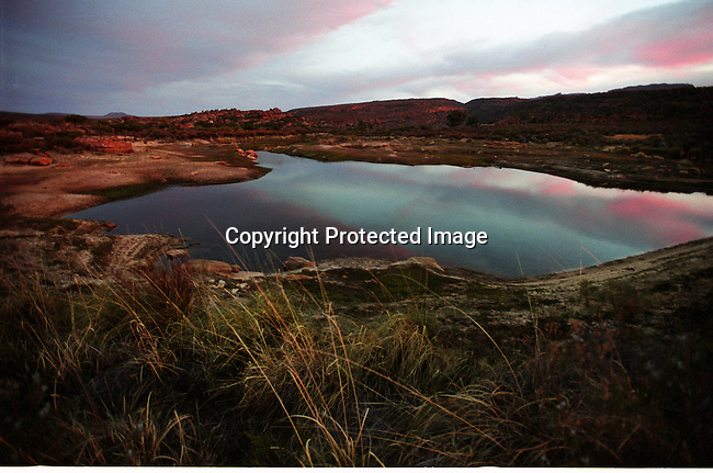 DISPWCA00072.West Coast. nature, conservation, lake, cederberg, mountains, paintings, bushman, .A lake in close to Bushmanskloof, a luxury resort and a private reserve. The area has a high number of bushman paintings. Bushmanskloof, South Africa. .©Per-Anders Pettersson/iAfrika Photos