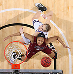 SIOUX FALLS, SD: MARCH 7: Mikale Rogers #33 of IUPUI and Olivia Braun #3 of Western Illinois get rebounding position during the Women's Summit League Basketball Championship Game on March 7, 2017 at the Denny Sanford Premier Center in Sioux Falls, SD. (Photo by Dave Eggen/Inertia)