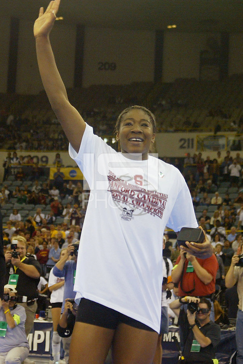 18 December 2004: Stanford Cardinal Ogonna Nnamani during Stanford's  30-23, 30-27, 30-21 victory over Minnesota in the 2004 NCAA Women's Volleyball National Championships in Long Beach, CA. Stanford won their sixth women's volleyball title in school history. Nnamani was named the tournament's Most Outstanding Player and broke the tournament record for kills.<br />Photo credit mandatory: David Gonzales