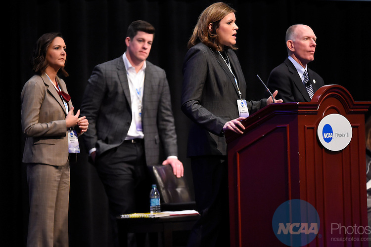 15 JAN 2015:  The NCAA Division II Issues Forum and Keynote Speaker take place during the 2015 NCAA Convention held at the Gaylord National Resort and Convention Center in National Harbor, MD.  Jamie Schwaberow/NCAA Photos  (Pictured:  Terri Steeb Gronau)