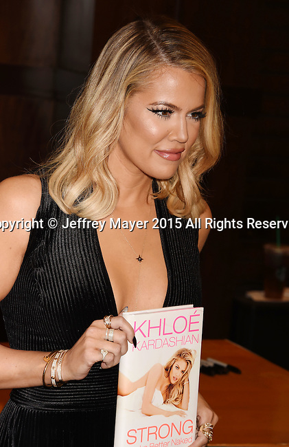 LOS ANGELES, CA - NOVEMBER 09: TV personality Khloe Kardashian Signs And Discusses Her New Book 'Strong Looks Better Naked' at Barnes & Noble at The Grove on November 9, 2015 in Los Angeles, California.