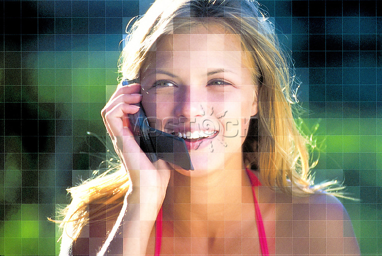 Illustrated picture of a phone conversation, woman, phone, conversation.