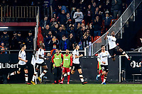 14th February 2020; Mestalla, Valencia, Spain; La Liga Football,Valencia versus Atletico Madrid; Geoffrey Kondogbia of Valencia CF celebrates with his team mates after scoring the equalizer goal 2-2 in minute 59'