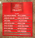 Cast Board for the Broadway Opening Night Curtain Call for 'A Streetcar Named Desire' on 4/22/2012 at the Broadhurst Theatre in New York City.