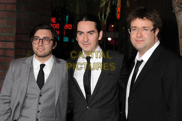 "Jonathan Sadoff, Dhani Harrison, Paul Hicks.""Beautiful Creatures"" Los Angeles Premiere held at the TCL Chinese Theatre, Hollywood, California, USA. .February 6th, 2013.half length black grey gray suit glasses white shirt.CAP/ADM/BP.©Byron Purvis/AdMedia/Capital Pictures."