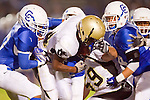 Culver City, CA 09/17/10 - Okuoma Idah (Peninsula #24), Max Mchugh (Peninsula #59), Ryan Mulvihill (Culver City #44) and Michael Ordon (Culver City #57) in action during the Peninsula Panthers-Culver City Centaurs varsity football game at Culver City High School.