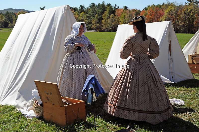 Civil War Reenactment Unity Village Camp Ladies in Dresses