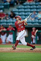 Altoona Curve catcher Christian Kelley (49) follows through on a swing during a game against the Richmond Flying Squirrels on May 15, 2018 at Peoples Natural Gas Field in Altoona, Pennsylvania.  Altoona defeated Richmond 5-1.  (Mike Janes/Four Seam Images)