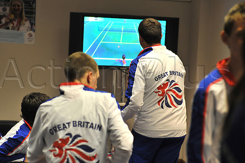 9.08.2010: The GB Youth Olympic Team and Officials. The British team prepare to fly to Singapore for the first ever Youth Olympics. Waiting for their flight to Singapore Team GB competitors pass the time playing Wii games.