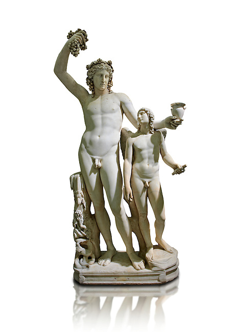 2nd century AD Roman marble sculptured of Dionysus and Eros, inv 6307, Naples Museum of Archaeology, Italy