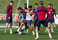Harry Maguire and Alex Oxlade-Chamberlain during the part open training session of the  England national football squad at St George's Park, Burton-Upon-Trent, England on 31 August 2017. Photo by James Williamson.