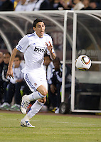 Angel Di Maria chases down the ball. Real Madrid defeated Club America 3-2 at Candlestick Park in San Francisco, California on August 4th, 2010.