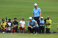 Ross Fisher and Bernd Wiesberger (Europe) on the 17th green during the Saturday Foursomes of the Eurasia Cup at Glenmarie Golf and Country Club on the 13th January 2018.<br /> Picture:  Thos Caffrey / www.golffile.ie