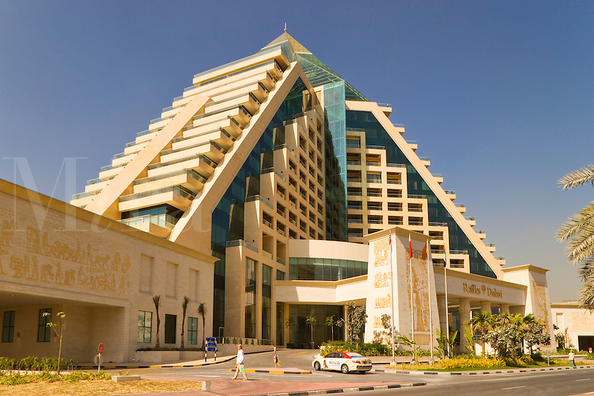 Dubai.  Raffles Hotel built on an Egyptian theme and adjacent to the Wafi Mall, a luxurious shopping centre/center..
