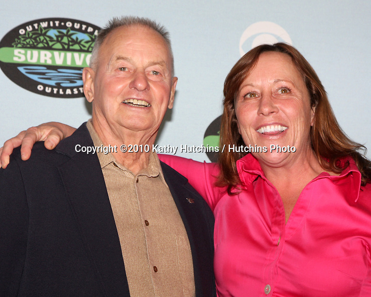 "Rudy Boesch, Susan Hawk .arrivng at the ""Survivor"" 10 Year Anniverary Party .CBS Television CIty.Los Angeles, CA.January 9, 2010.©2010 Kathy Hutchins / Hutchins Photo...."
