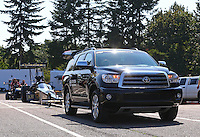 Aug. 3, 2014; Kent, WA, USA; The tow vehicle and dragster of NHRA top fuel driver Khalid Albalooshi during the Northwest Nationals at Pacific Raceways. Mandatory Credit: Mark J. Rebilas-