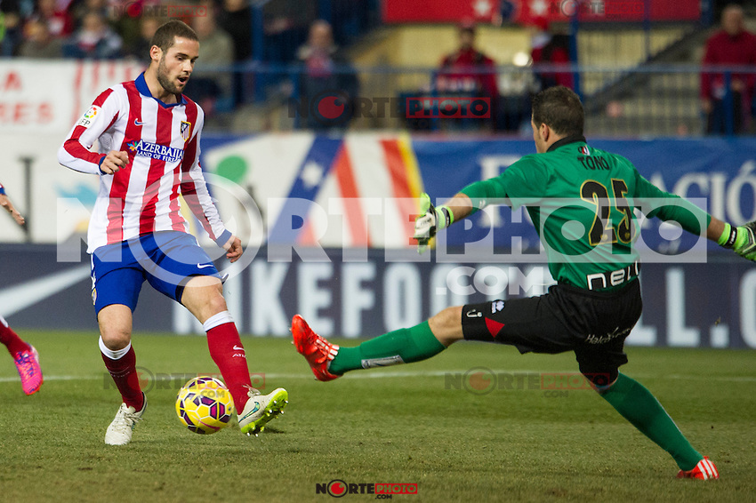 Atletico de Madrid&acute;s Mario Suarez and Rayo Vallecano&acute;s Tono Rodriguez during 2014-15 La Liga match between Atletico de Madrid and Rayo Vallecano at Vicente Calderon stadium in Madrid, Spain. January 24, 2015. (ALTERPHOTOS/Luis Fernandez) /NortePhoto<br />